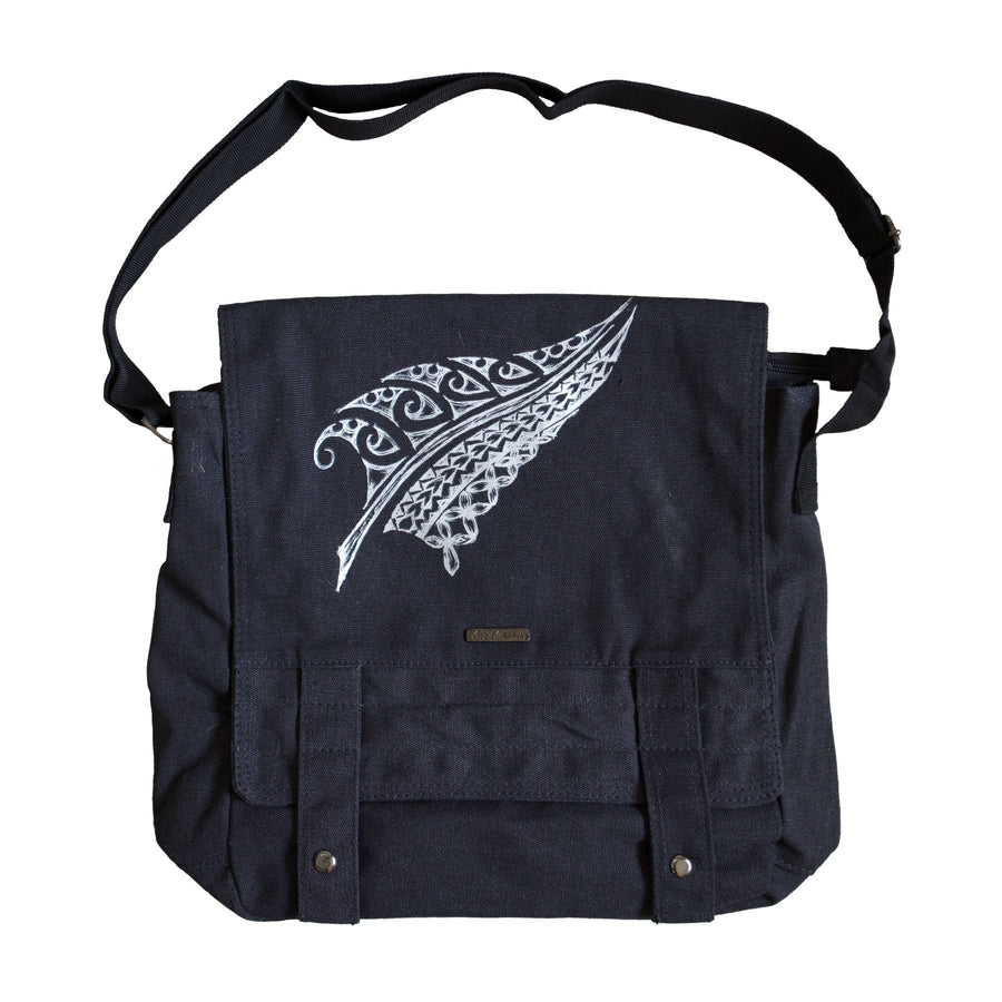 Black Messenger Bag with metallic Silver Fern print on front and inside. www.kiakaha.co.nz