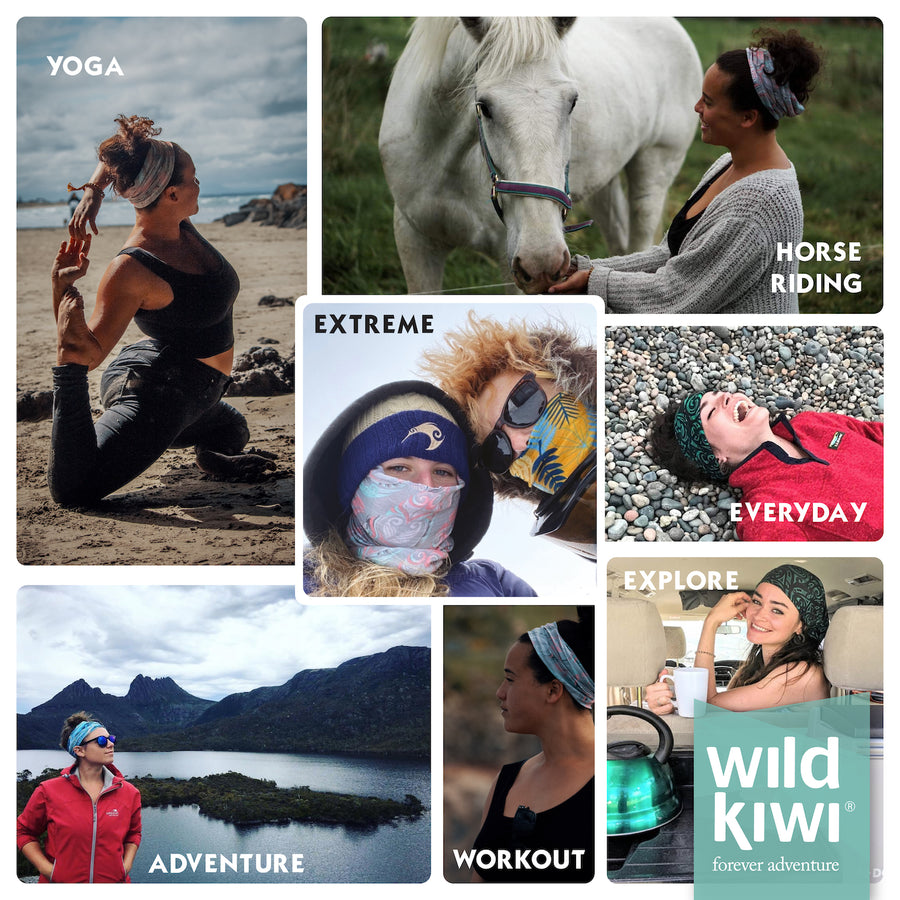 Wild Kiwi New Zealand designed multi scarf - for yoga, horse riding, extreme sports, casual wear, adventure hiking, exploring and everyday work outs