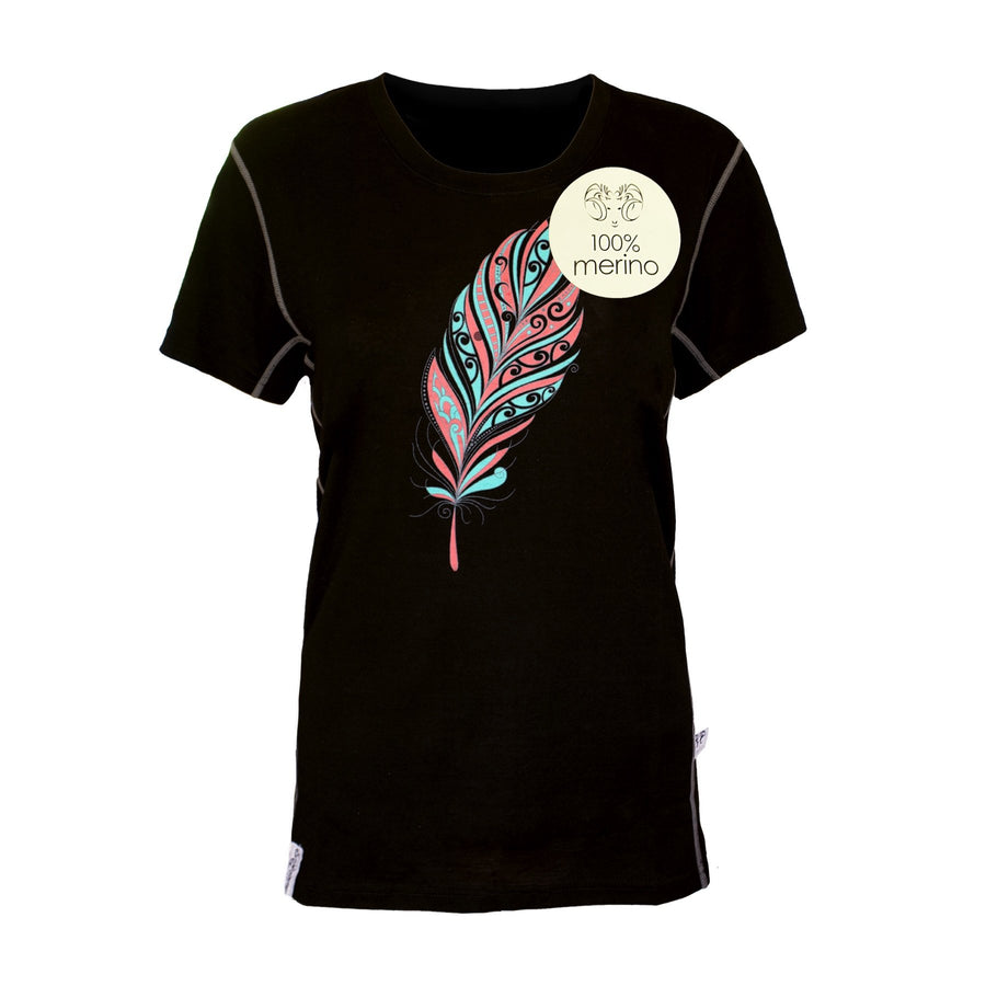 Women's black merino tee with feather print. www.kiakaha.co.nz