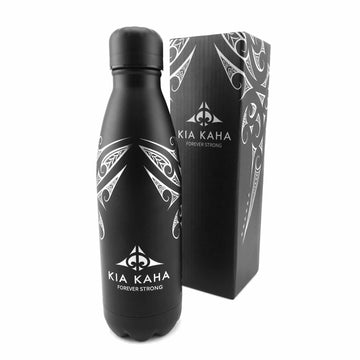 black insulated drink bottle with Maori design, Kia Kaha New Zealand