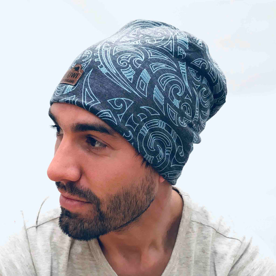 Blue Beanie with New Zealand Kowhaiwhai design. www.wild-kiwi.co.nz