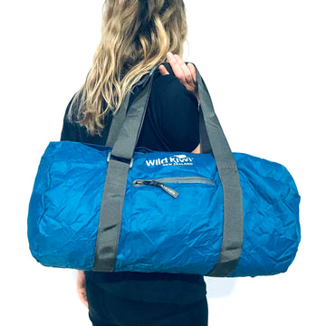 Blue packable cabin bag. Water resistant. www.wild-kiwi.co.nz