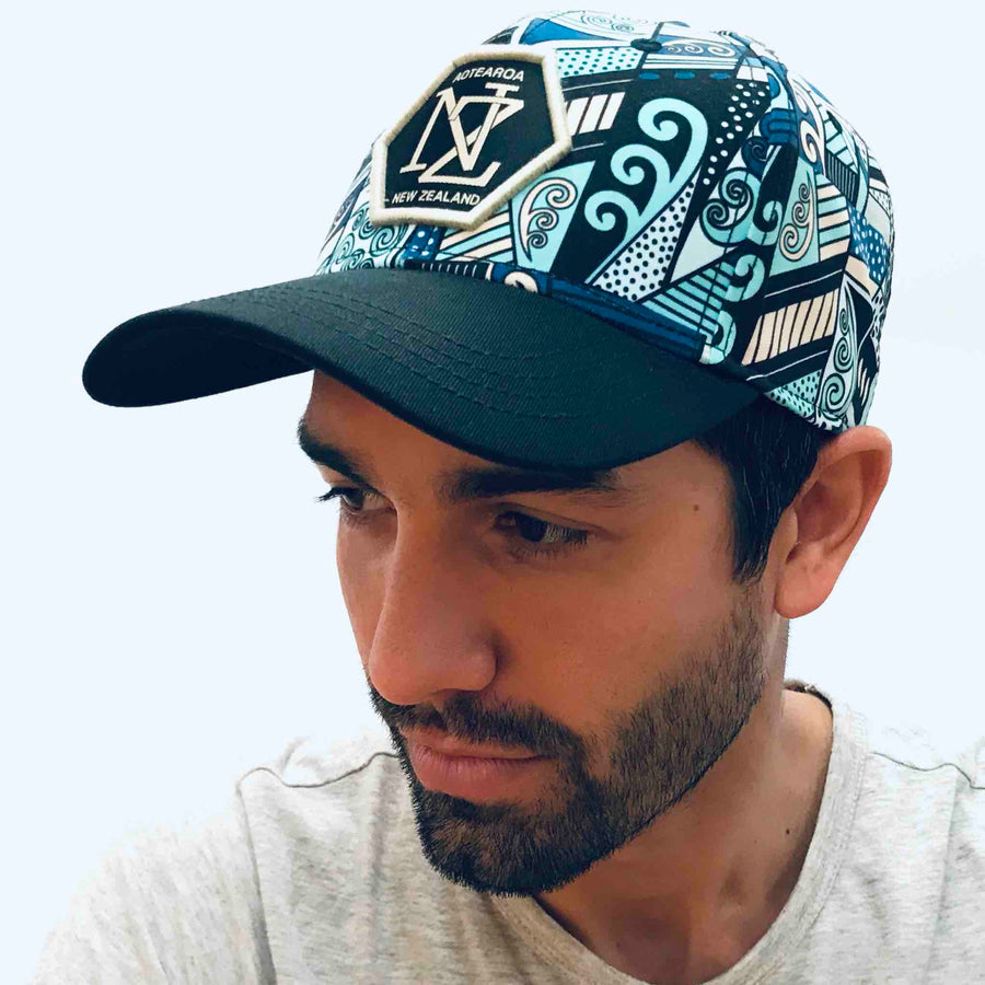 blue printed baseball cap. Wild Kiwi Clothing, New Zealand. www.wild-kiwi.co.nz