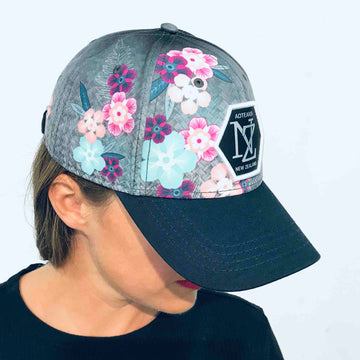 Manuka flower and woven flax print cap. Wild Kiwi Clothing, New Zealand. www.wild-kiwi.co.nz