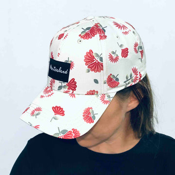 Women's cap with floral all-over print, Wild Kiwi New Zealand
