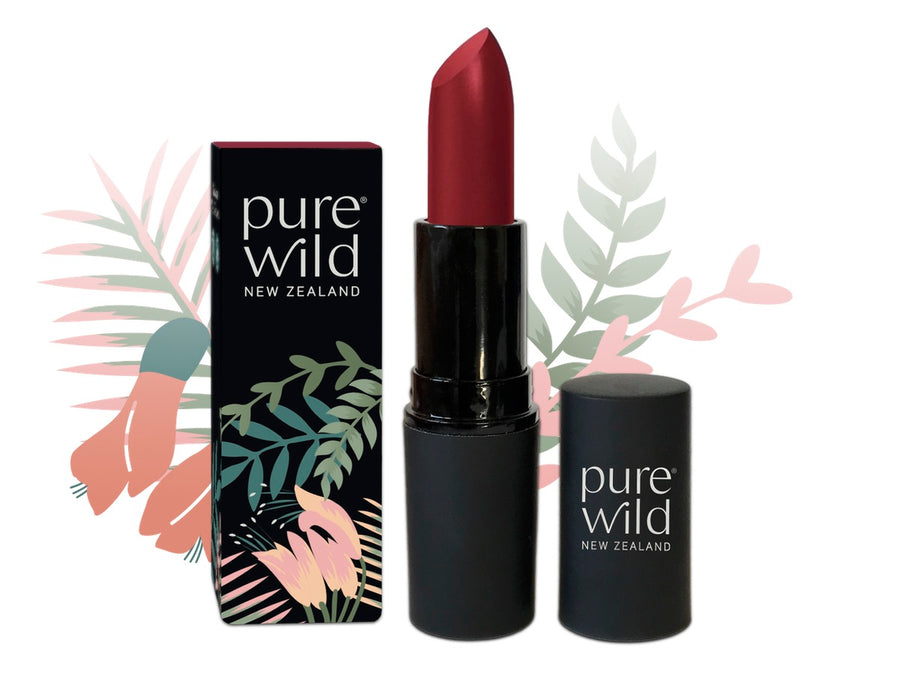 Deep pink Manuka Blossom Lipstick. Pure Wild®. Made in New Zealand