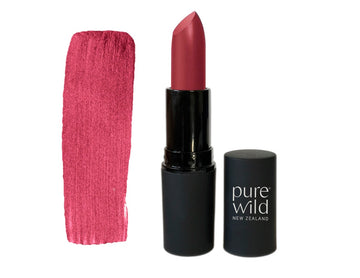 Natural Lipstick. Deep pinky red Aroha Merlot Lipstick. Pure Wild®. Made in New Zealand