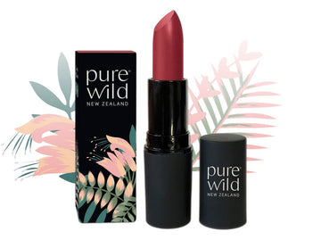 Deep pinky red Aroha Merlot Lipstick. Pure Wild®. Made in New Zealand