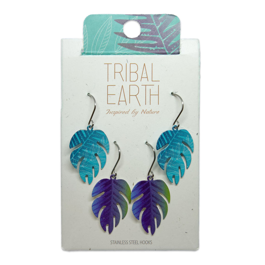 Blue fern leaf earrings set. Designed in New Zealand. www.tribalearth.co.nz