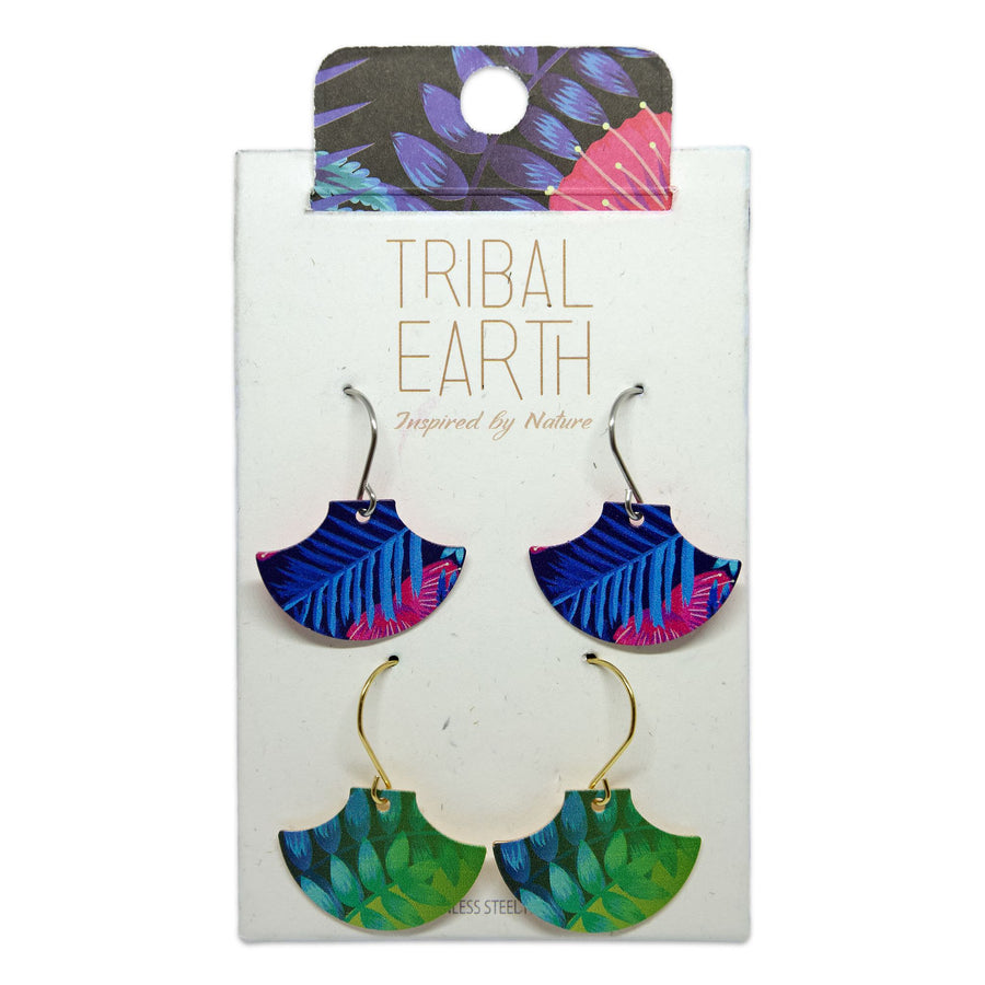 Pagoda earring set, blue and green ferns. Tribal Earth New Zealand