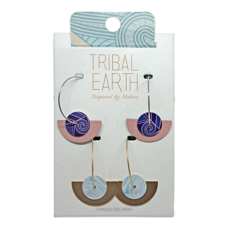 Blue and blush pink fan hoop earring set. Designed in New Zealand. www.tribalearth.co.nz