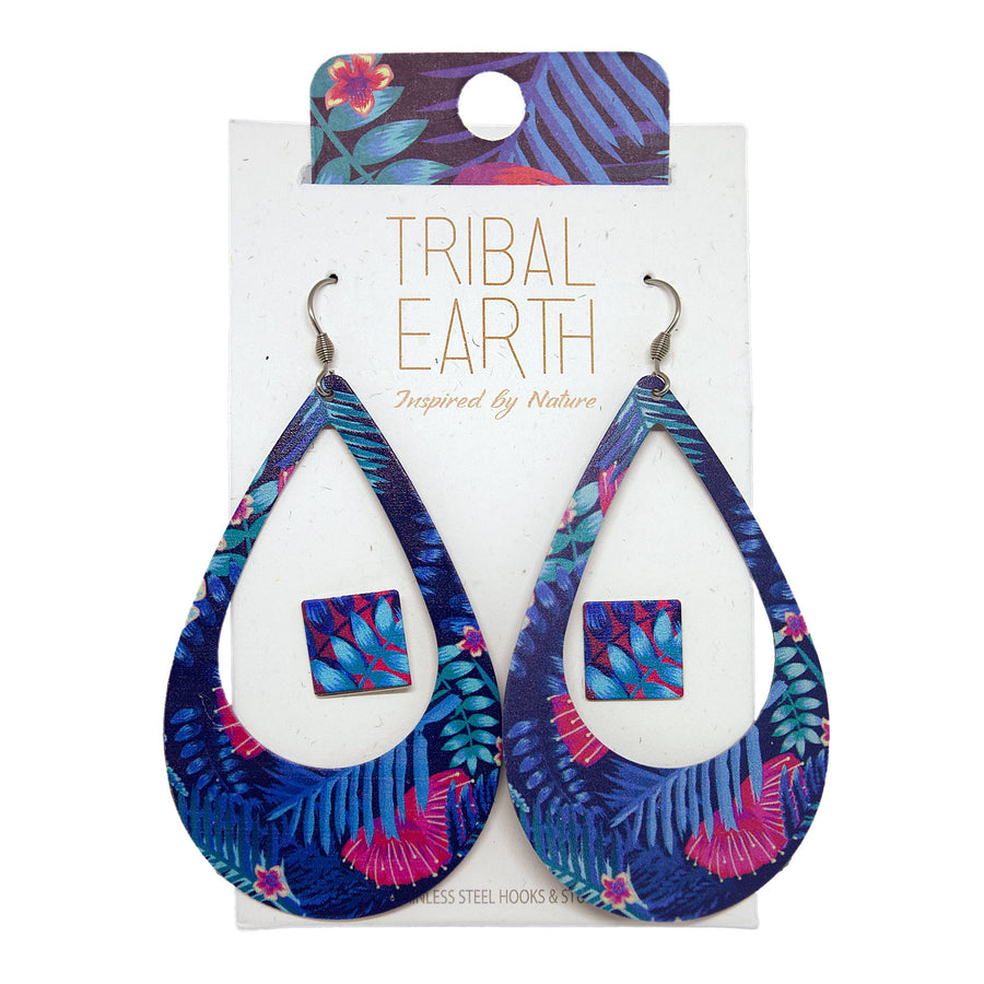 Blue and pink Tropical fern earring set, square studs and oval earrings. Designed in New Zealand. www.tribalearth.co.nz