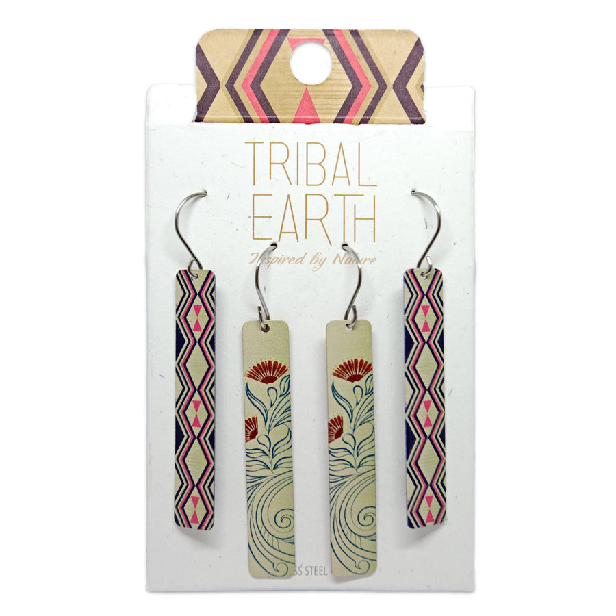 Bar Earrings, gold colour drop earring set. Tribal Earth New Zealand