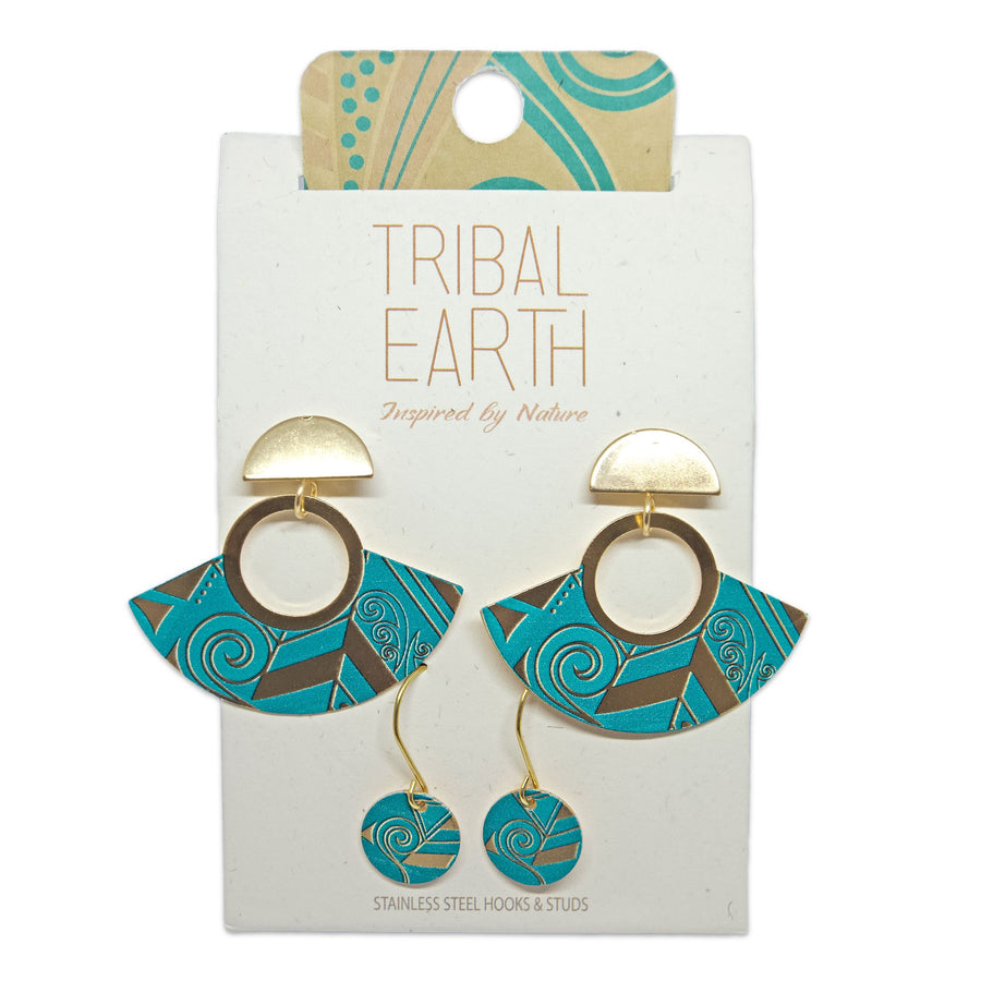 Turquoise blue Art Deco fan and hook earring set. Tribal Earth New Zealand.