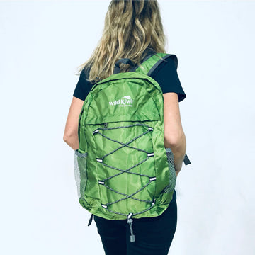 Green packable backpack, Water resistant. New Zealand. www.wild-kiwi.co.nz