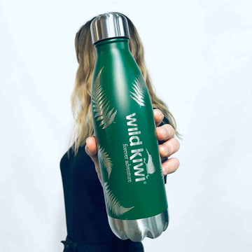 Green insulated Hot or Cold Drink Bottle. Kiwi design. www.wild-kiwi.co.nz