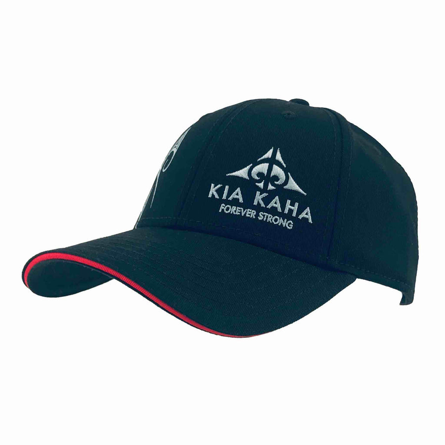 Black kia-kaha baseball cap with Maori design. Kia Kaha New Zealand