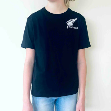 Children's Embroidered Silver Fern T-shirt Black 381KP