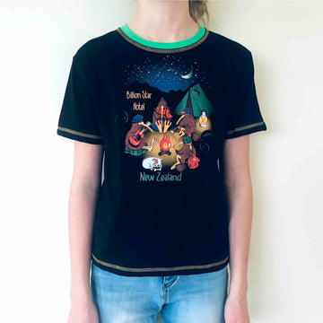 Children's black t shirt with cartoon camping kiwi print. Wild Kiwi New Zealand Kid's tee. www.wild-kiwi.co.nz