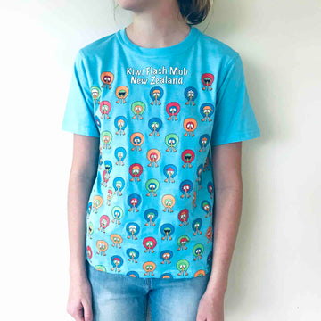 Children's Kiwi Flash Mob T-shirt Sky Blue 364KP