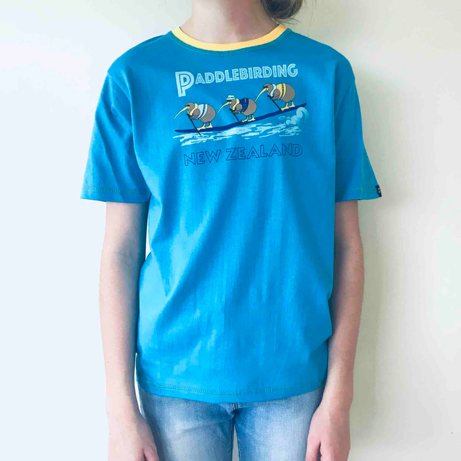 Children's blue cartoon t shirt, Paddlebirding print, Wild Kiwi New Zealand Kid's tee. www.wild-kiwi.co.nz