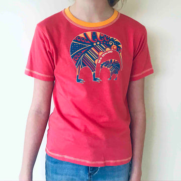 Children's coral 'two kiwi' t shirt. Wild Kiwi New Zealand Kid's tee. www.wild-kiwi.co.nz