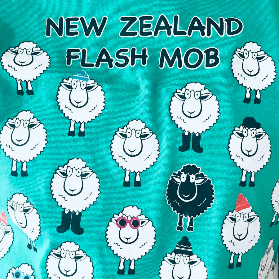 Children's Sheep Flash Mob T-shirt Opal Green 361KP