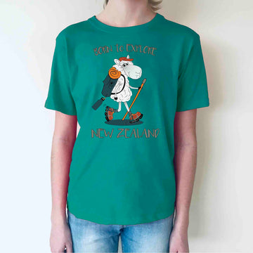 Children's Born To Explore T-shirt Peacock Green 363KP