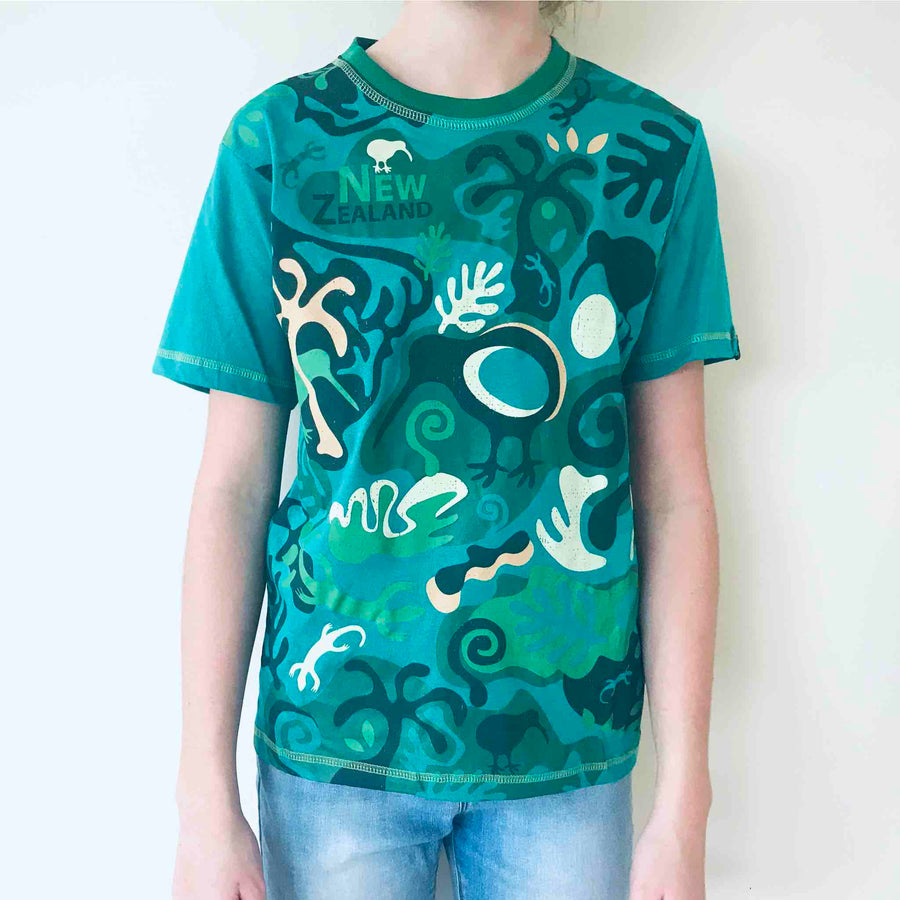 Children's green cartoon t shirt, Kiwi Camo print, Wild Kiwi New Zealand Kid's tee. www.wild-kiwi.co.nz