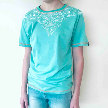 Children's alpine blue t shirt with tattoo inspired shoulder print. Wild Kiwi New Zealand Kid's tee. www.wild-kiwi.co.nz