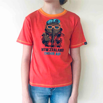 Children's orange cartoon t shirt, Choice Kiwi print, Wild Kiwi New Zealand Kid's tee. www.wild-kiwi.co.nz
