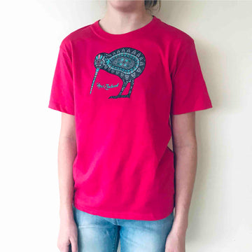 378KP Children's Kiwi Batik T-shirt Hot Pink