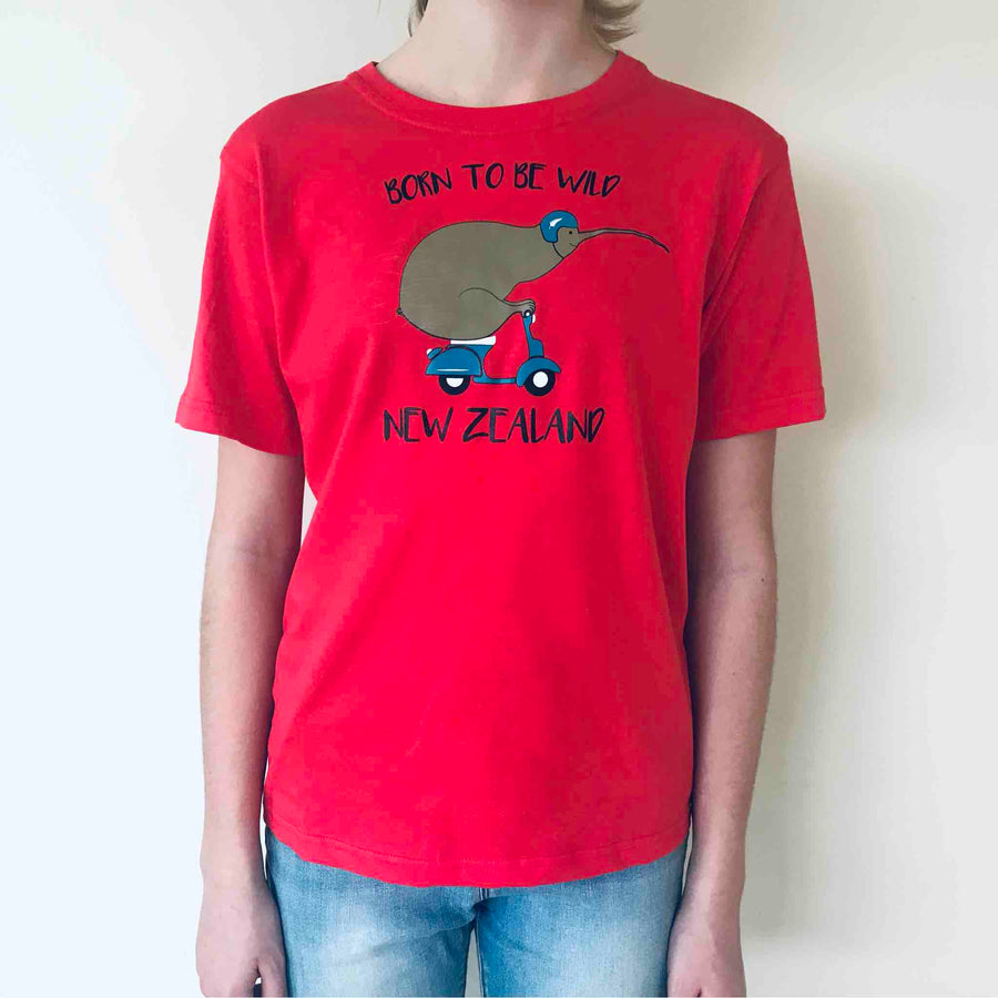 Children's Born To Be Wild Kiwi T-shirt Red 380KP