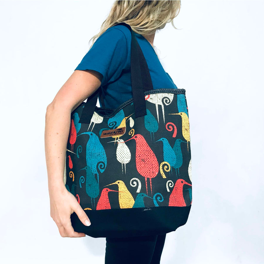 Printed beach bag, tote bag, black shopping bag with colourful New Zealand kiwi bird design.