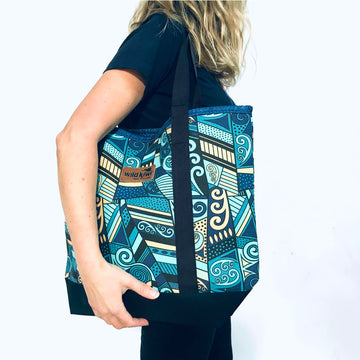 Printed beach bag, shopping bag with colourful New Zealand koru design. www.wild-kiwi..co.nz