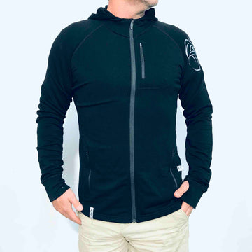 Men's Kia Kaha black merino hoodie with ram print.