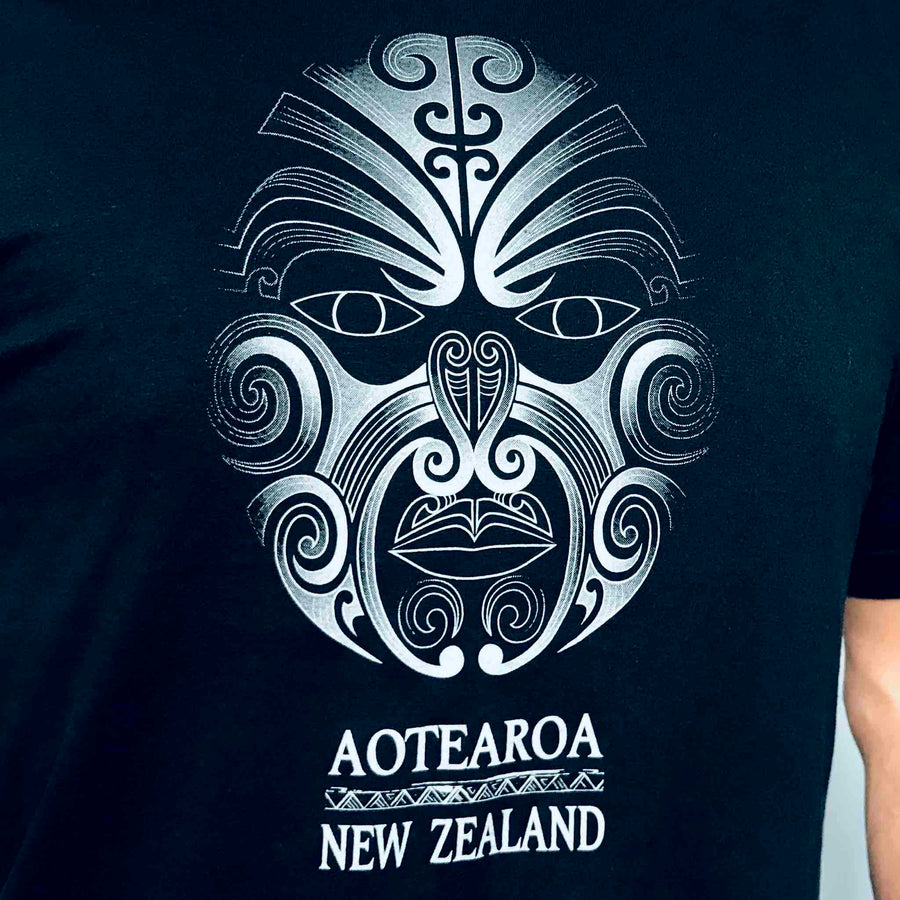 Men's Moko T-shirt Black Kiwi Planet New Zealand T-Shirt