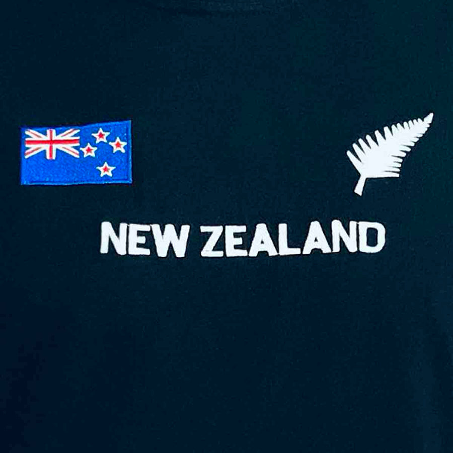 New Zealand flag and silver fern embroidered Men's T-Shirt, Wild Kiwi Clothing, New Zealand. www.wild-kiwi.co.nz