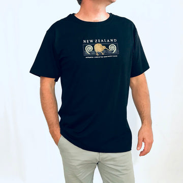 Maori themed embroidered Men's T-Shirt, Wild Kiwi Clothing, New Zealand. www.wild-kiwi.co.nz