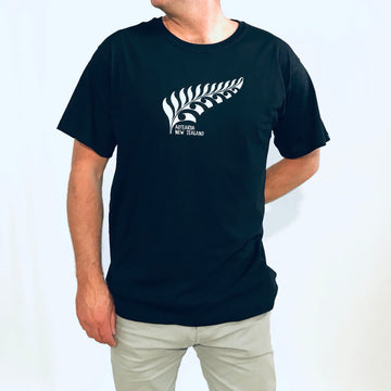 Men's Black T-Shirt. NZ Silver Fern embroidery. Wild Kiwi Clothing, New Zealand. www.wild-kiwi.co.nz