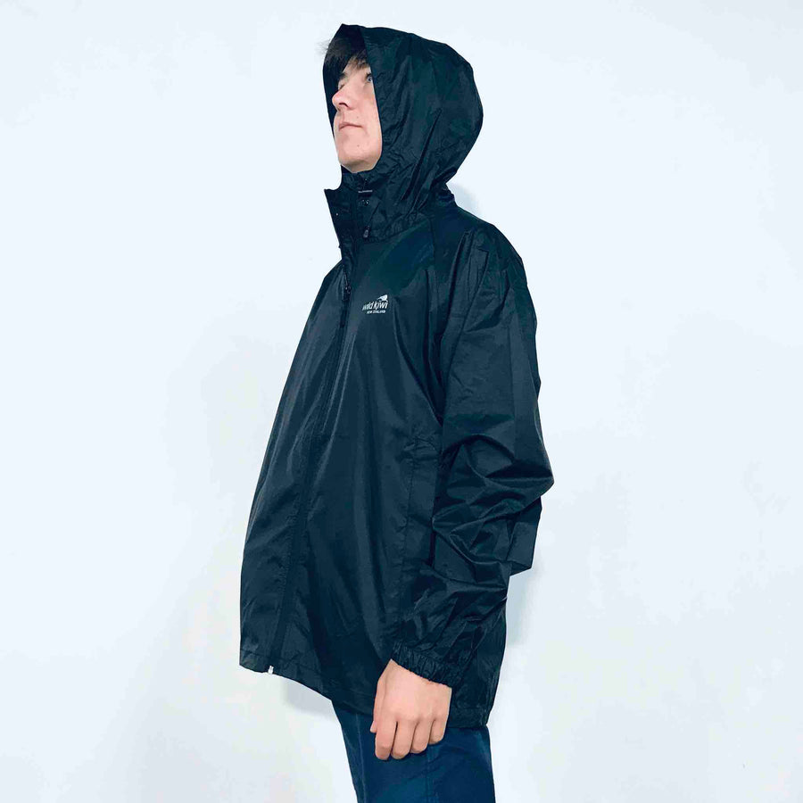 Men's Black Packable Rain Jacket. www.wild-kiwi.co.nz