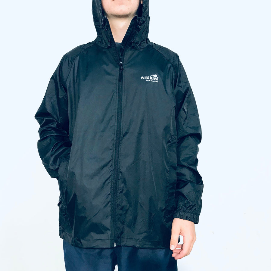 Men's black packable raincoat, best travel rain jacket. www.wild-kiwi.co.nz
