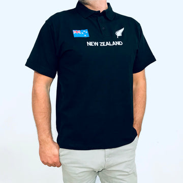 Men's New Zealand Flag and Silver Fern Polo Shirt, Black, Wild Kiwi Clothing, New Zealand www.wild-kiwi.co.nz