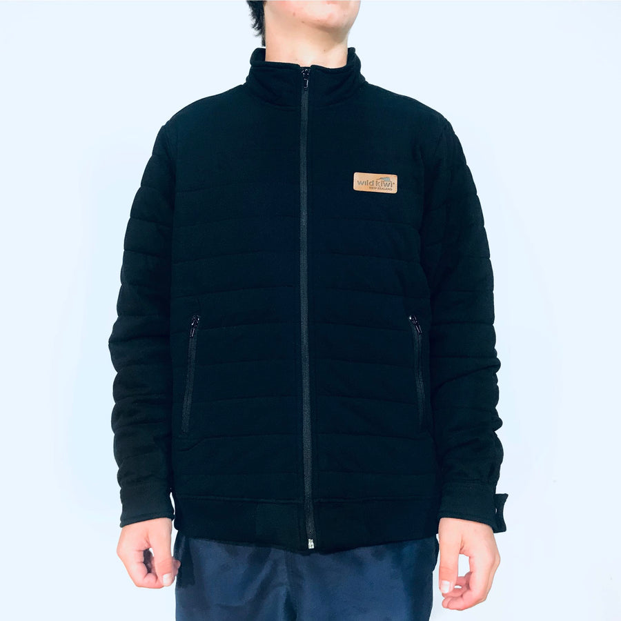 Men's black quilted warm winter jacket. www.wild-kiwi.co.nz