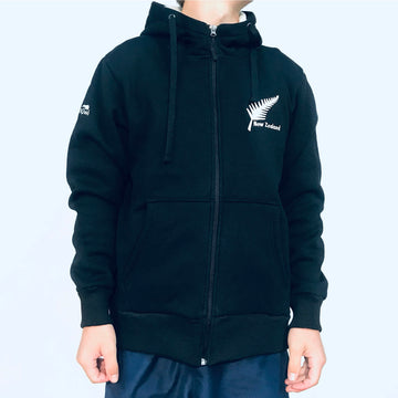 Men's black hoodie with sherpa fleece lining. Zip through closure. www.wild-kiwi.co.nz