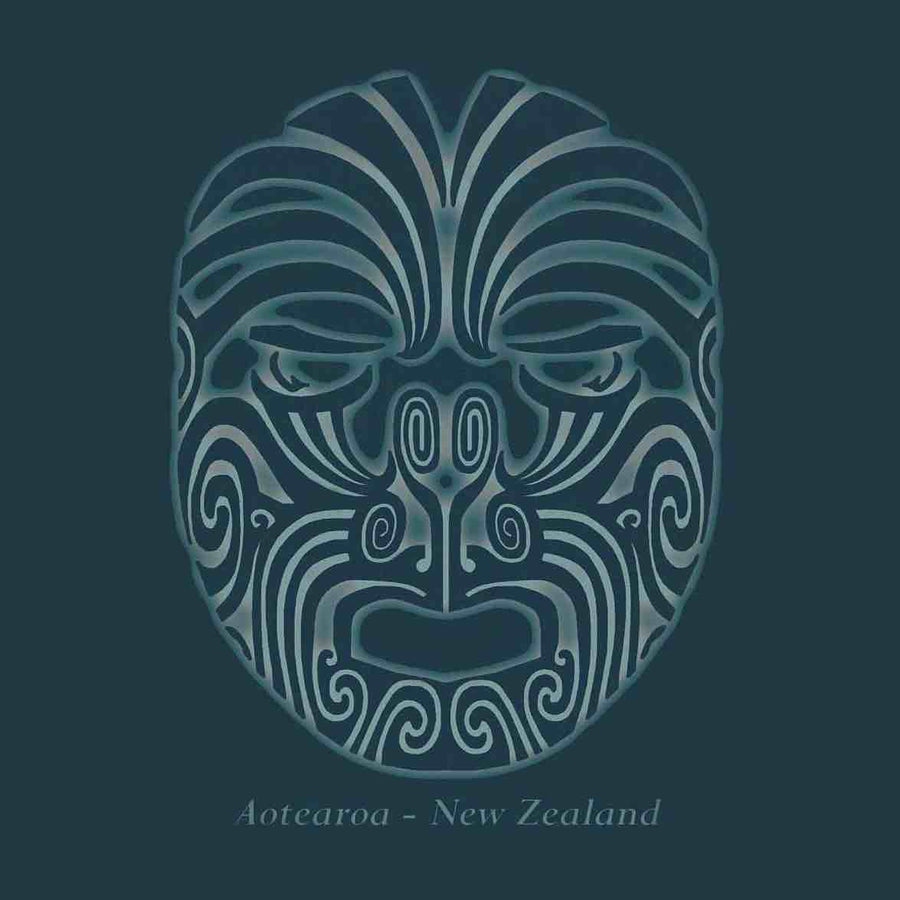 Blue facial tattoo Men's New Zealand T-Shirt-www.wild-kiwi.co.nz
