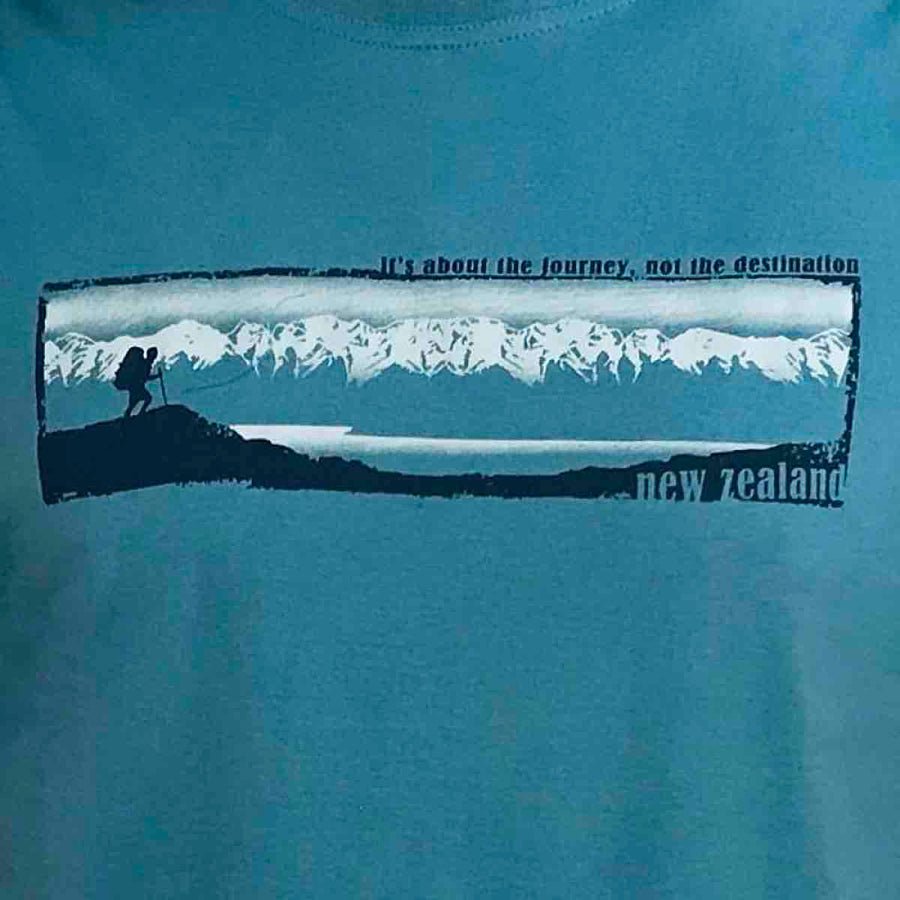 Men's Blue New Zealand T-shirt with mountain print-www.wild-kiwi.co.nz