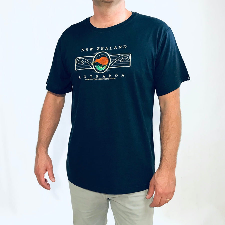 Men's embroidered navy blue New Zealand T-Shirt-www.wild-kiwi.co.nz
