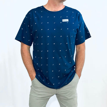 Men's Blue T-Shirt. NZ silver fern and kiwi print. New Zealand. www.wild-kiwi.co.nz