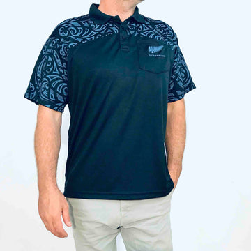 Men's blue dry fit polo shirt. Wild Kiwi, New Zealand. www.wild-kiwi.co.nz